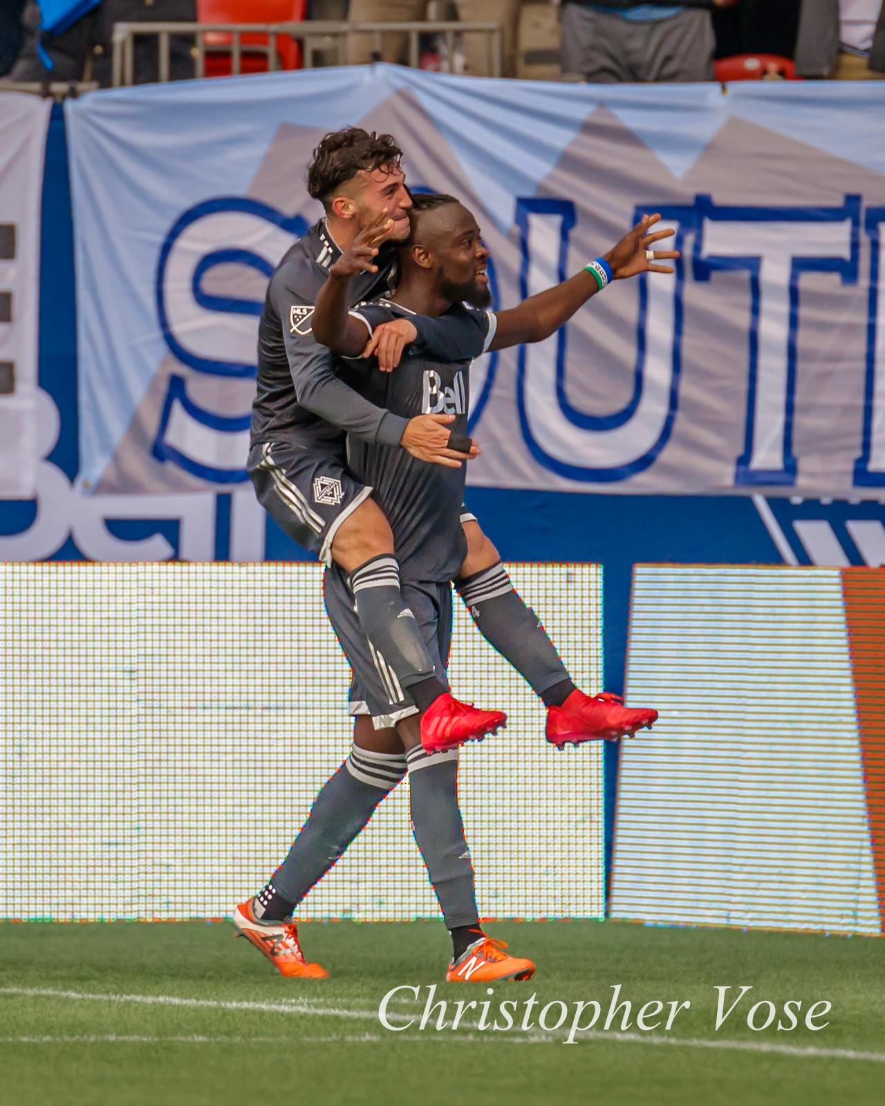 Kei Kamara gives Russell Teibert a piggyback after opening the scoring