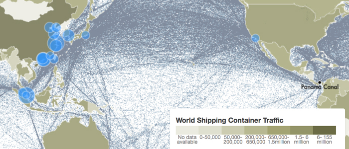 Interactive map shows the flow of containers from land to sea and vice versa.   Circles show the top 20 ports worldwide, scaled by volume of container traffic. Lines show global shipping voyages for 2007.