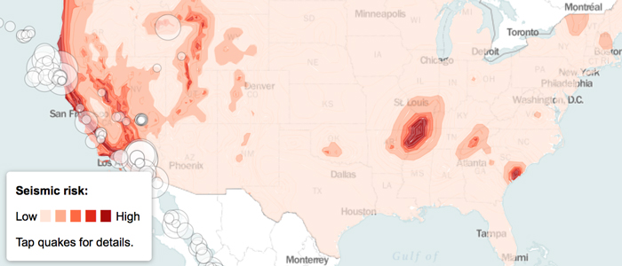 Seismic Hazards in the Continental United States  Class project  Leaflet map showing earthquake risks in the United States.  Source: United States Geological Survey