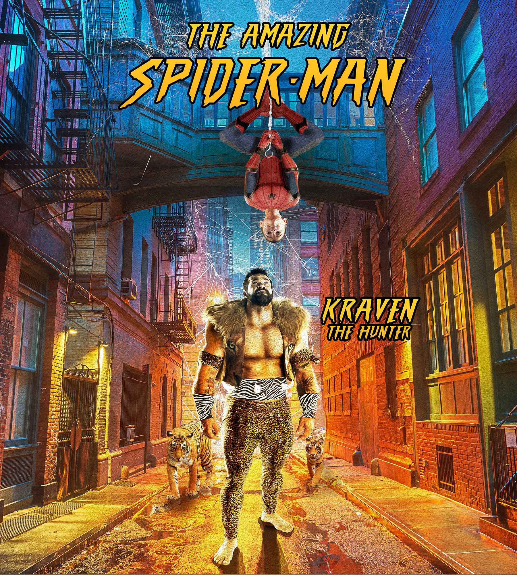 A father and Son - Dad wanted a movie poster with Spider man his son. We agreed on Kraven the Hunter as the villain. The awesome Kraven suit was sewn by Staci Rizner.