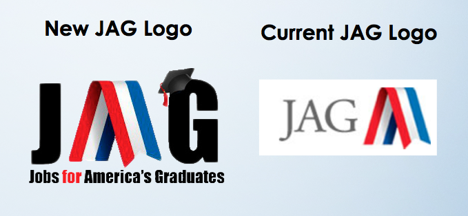 The entire class wanted to revamp the JAG logo so our professor had everyone draw up or photo shop ideas. The class ended up picking my new logo idea above. The idea inspiration came from the original JAG logo. While brainstorming I wanted to incorporate the red, white, and blue ribbon and I realized it looked like the letter A so I simply spelled out JAG and put the ribbon in place of the A. I also felt since the JAG abbreviation is not as recognizable Jobs For America's Graduates needed to be added at the bottom. A statement needed to be made that this was a drop out prevention program so I added a graduation cap on the letter G to show JAG can be the solution to graduation.