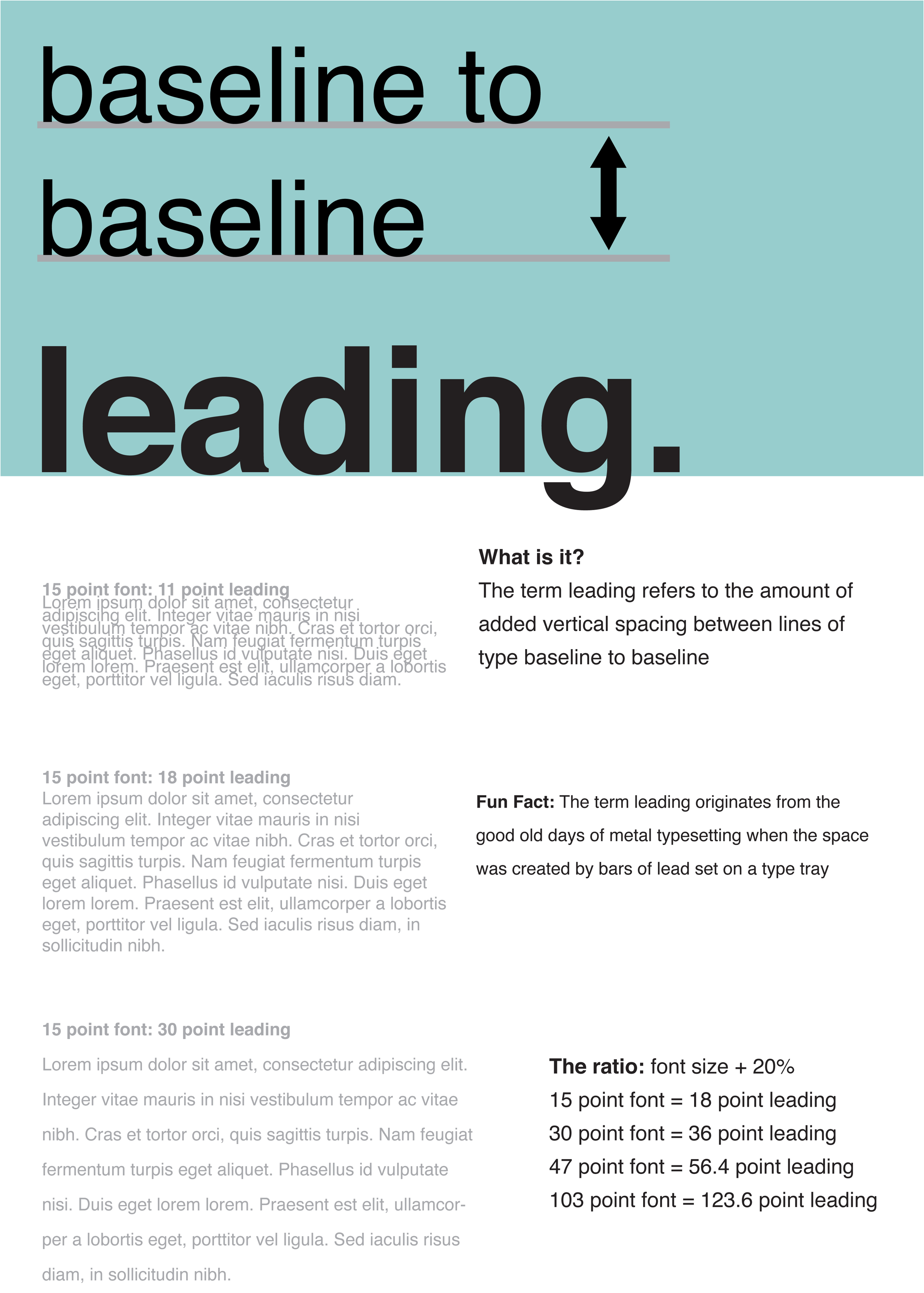 Leading poster created as part of a series of common type mistakes in 2010. Poster was used as a teaching element in to bring common typographical mistakes to light.