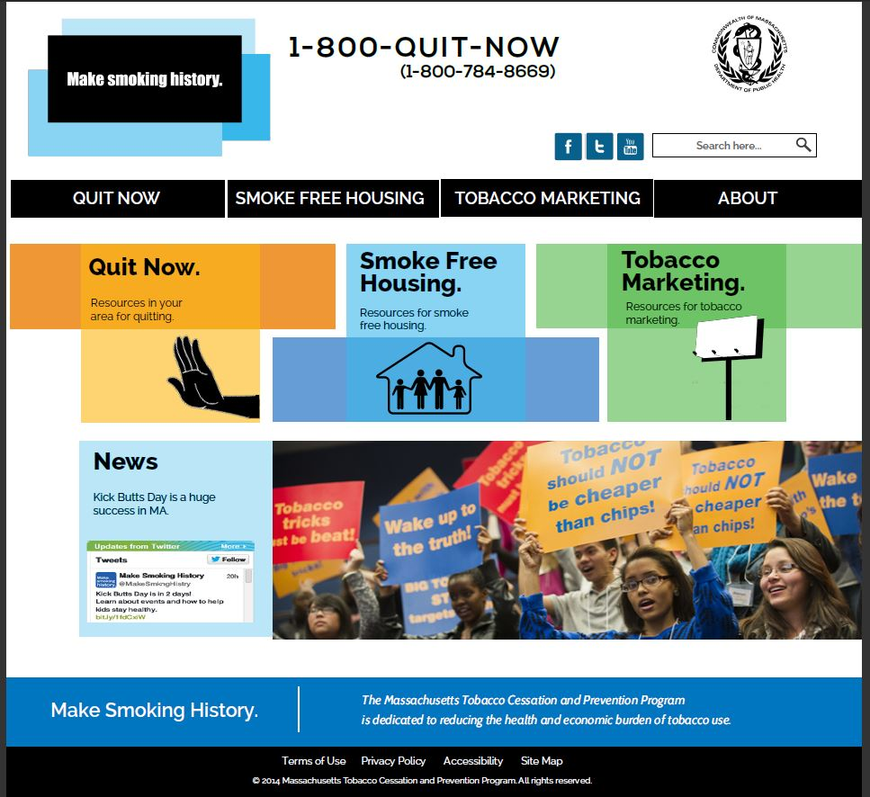 Mock design #1 for Make Smoking History website homepage.