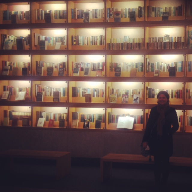 This is only a small fraction of the walls of books in the lobby of Random House. Yeah so it's a little bit bigger than the bookshelf in the reception area on my home turf at Allen & Unwin Melbourne.