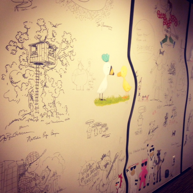 Part of the picture-book wall. Hey, Allen & Unwin crew, can we do this at home? I know we just got done painting, but imagine  Mr Chicken  on the wall!