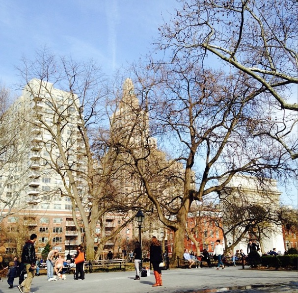 Washington Square Park. If you look closely, you can see a nearly nude guy on a park bench - so that's... something.