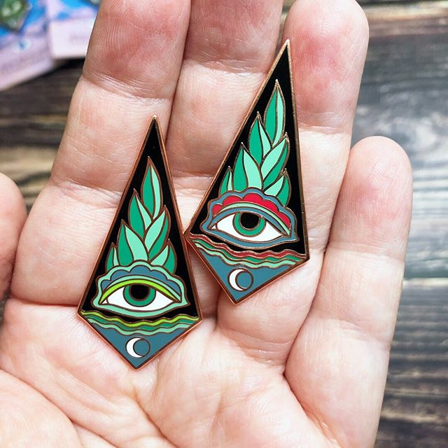 Eye of Protection pins are finally here! Check the link in my bio for more details and to get one of your own.  __________________________ #sfetsy #pingamestrong #uniquejewelry #eyeofprotection #witchyart #enamelpins #pincollector #pinsofinstagram #pinoftheday #amulet