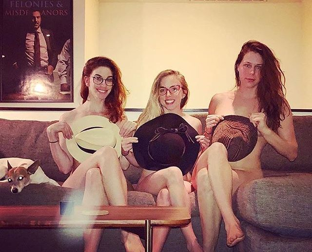 Sometimes you just gotta get naked with your girls and your dog. Head over to iTunes and check out the most recent episode of @danamoonme's podcast as we take a walk down memory lane and revisit many very inappropriate moments. @jmscomedy and her vagina make a guest appearance as well.