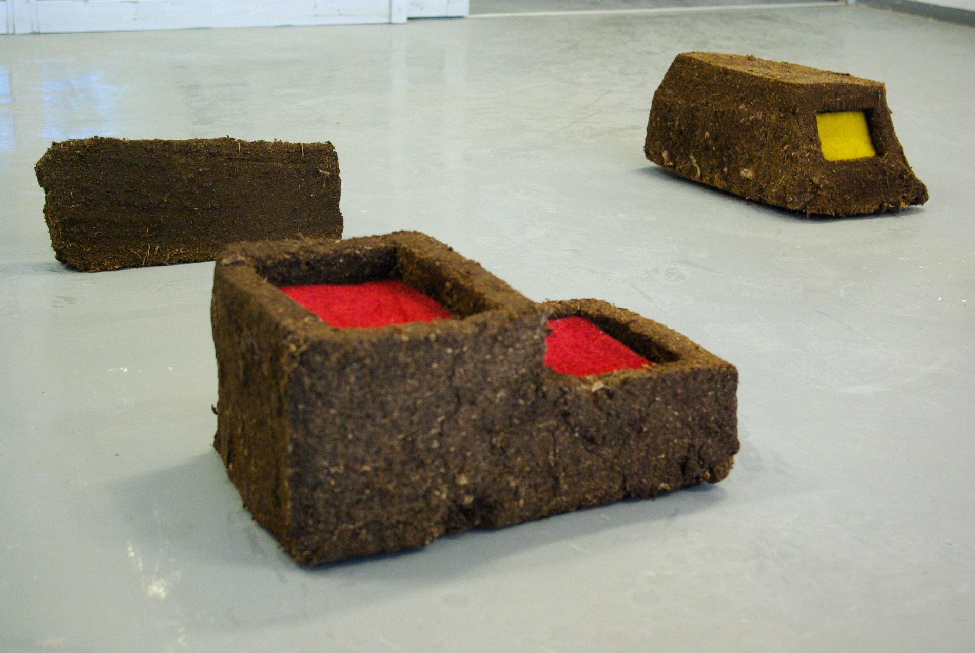 Two Colonies (detail), peat, carpet, 2014
