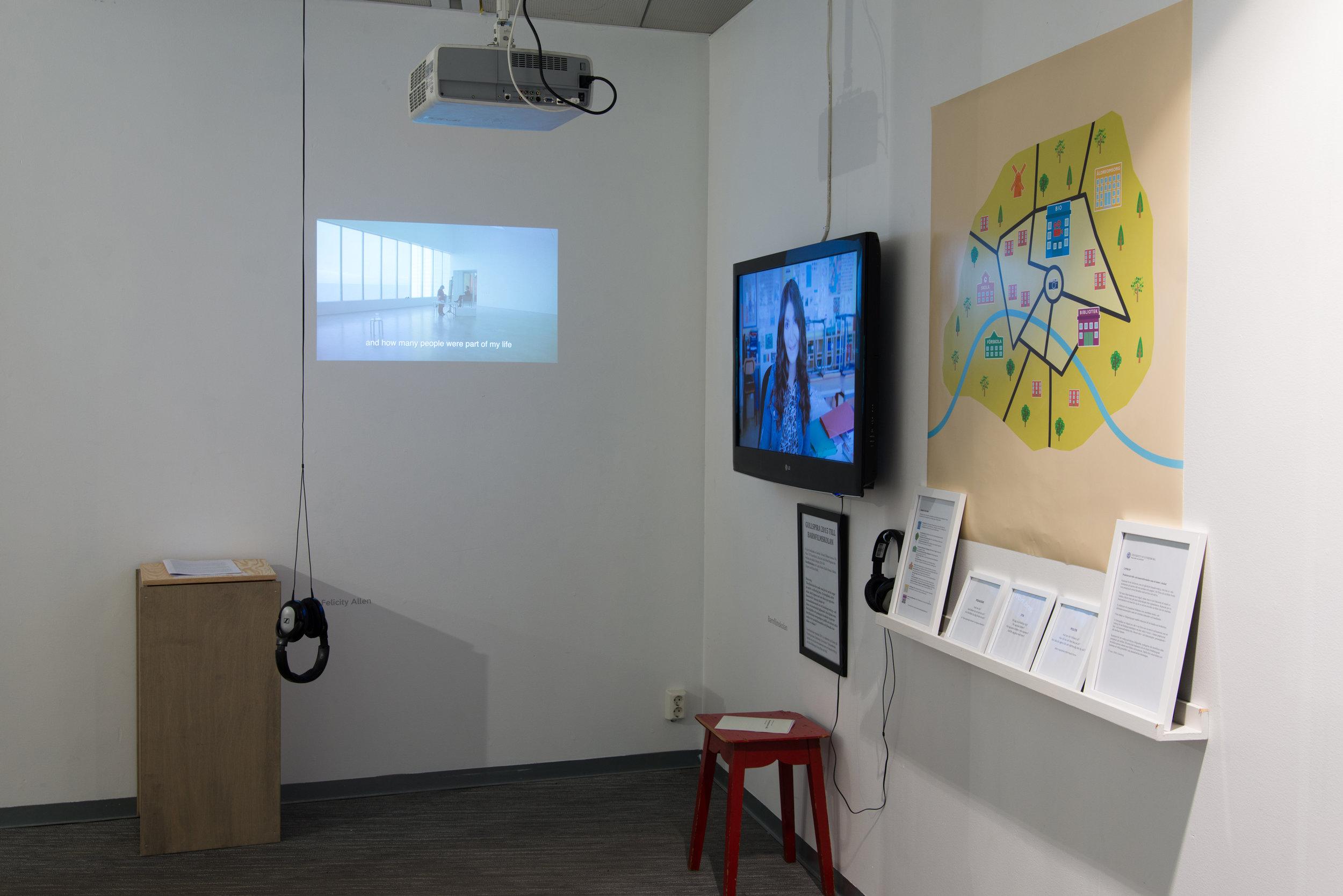 Installation view: Felicity Allen, and Barnfilmskolan (The Children's Film School)