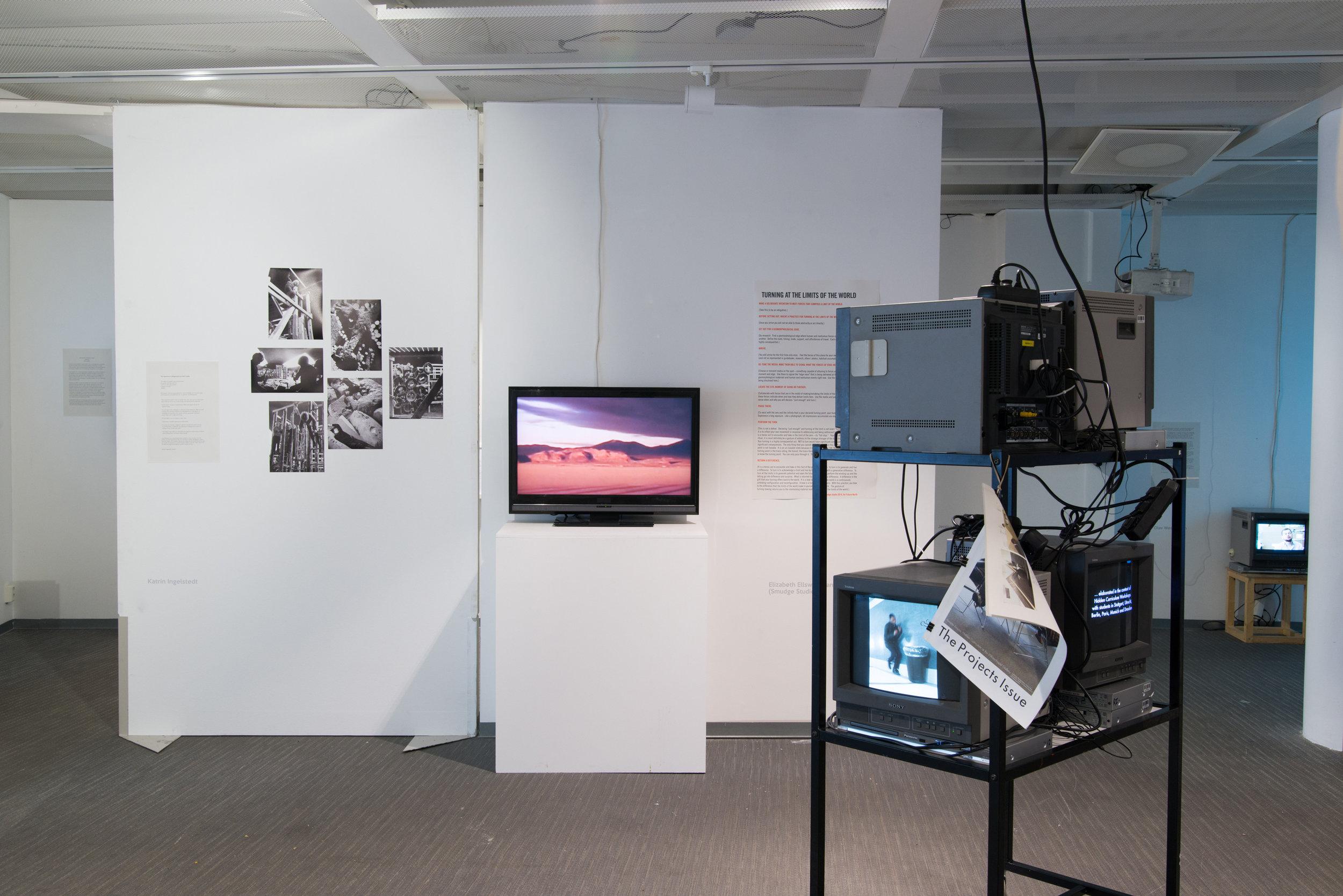 Installation view: Foreground:Annette Krauss, Background:lrit Rogoff, Katrin Ingelstedt, and Elizabeth Ellsworth and Jamie Kruse (Smudge Studio)