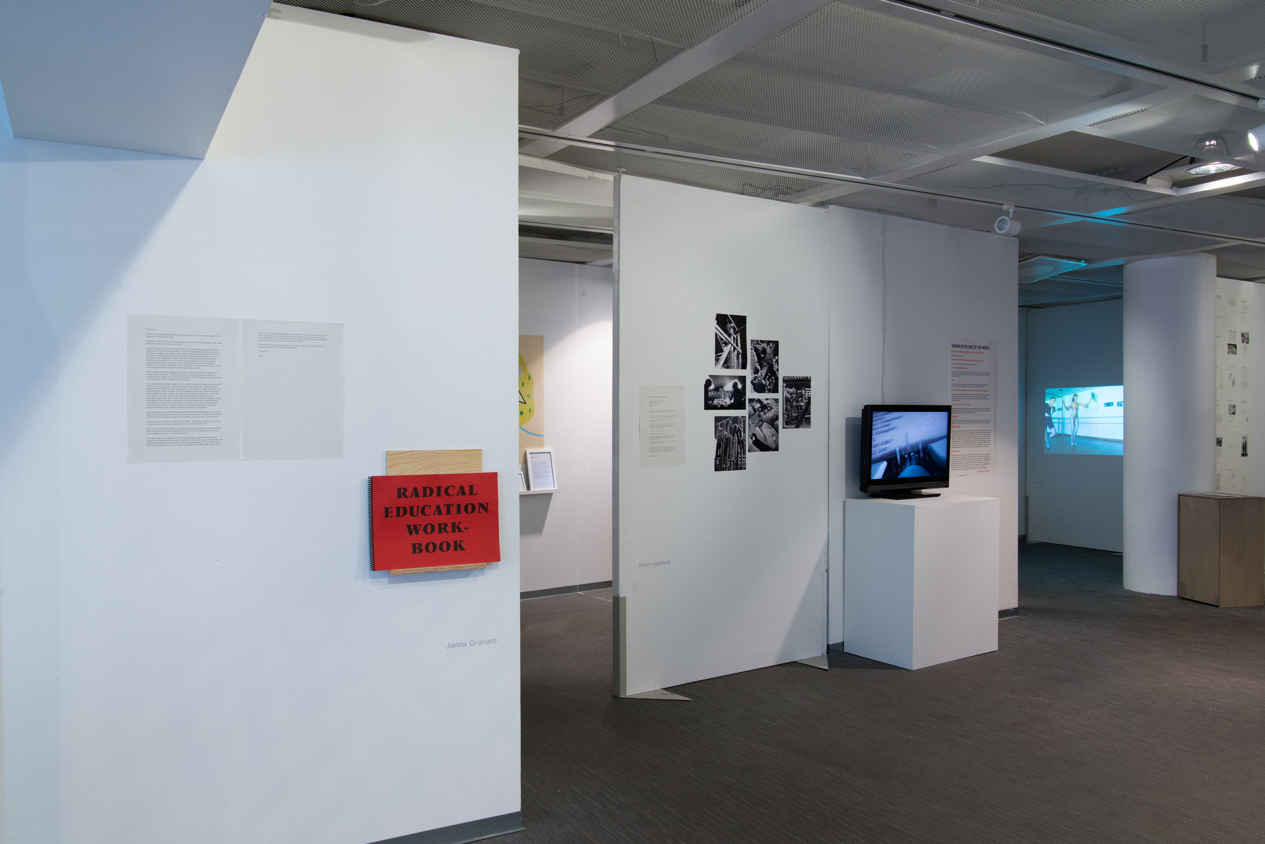 Installation view:Janna Graham, Katrin Ingelstedt,Elizabeth Ellsworth and Jamie Kruse (Smudge Studio), Doa Aly, and Olivia Plender.