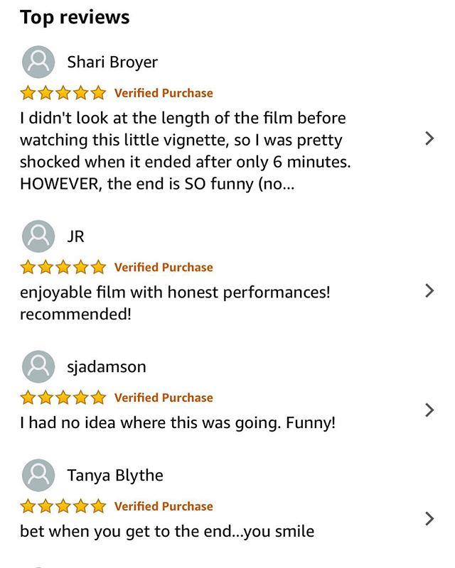 There's no better feeling than knowing your work has made people smile! 🙌🏼 These are a couple of our 5 star ratings and reviews on Amazon Prime Video for 'The Wave' short film... if you haven't watched it yet and have 6 minutes to spare then grab a cuppa and click on the link in our bio ✔️ . #hewespictures #amazonprimevideo #watchnow