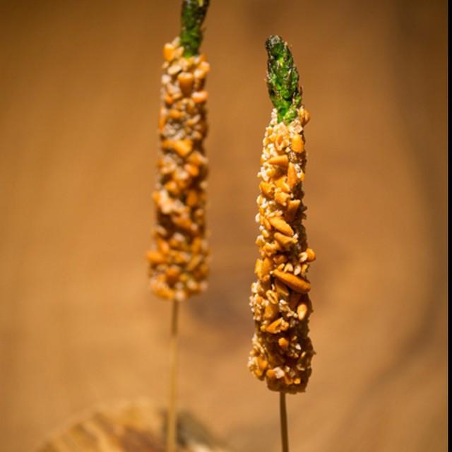 Crispy Okaki Asparagus and Beer- the ultimate combination.
