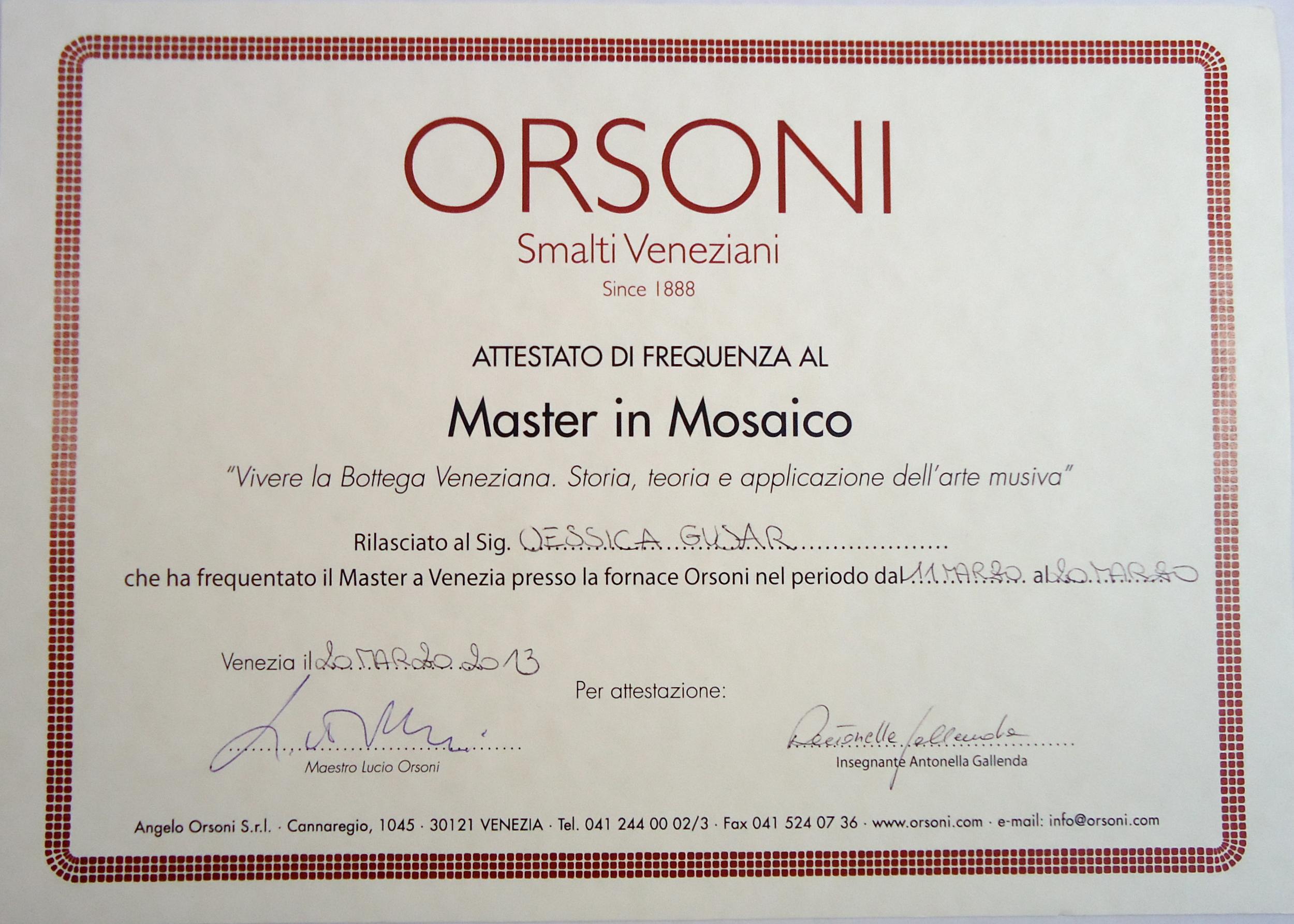 Master in Mosaics Certificate