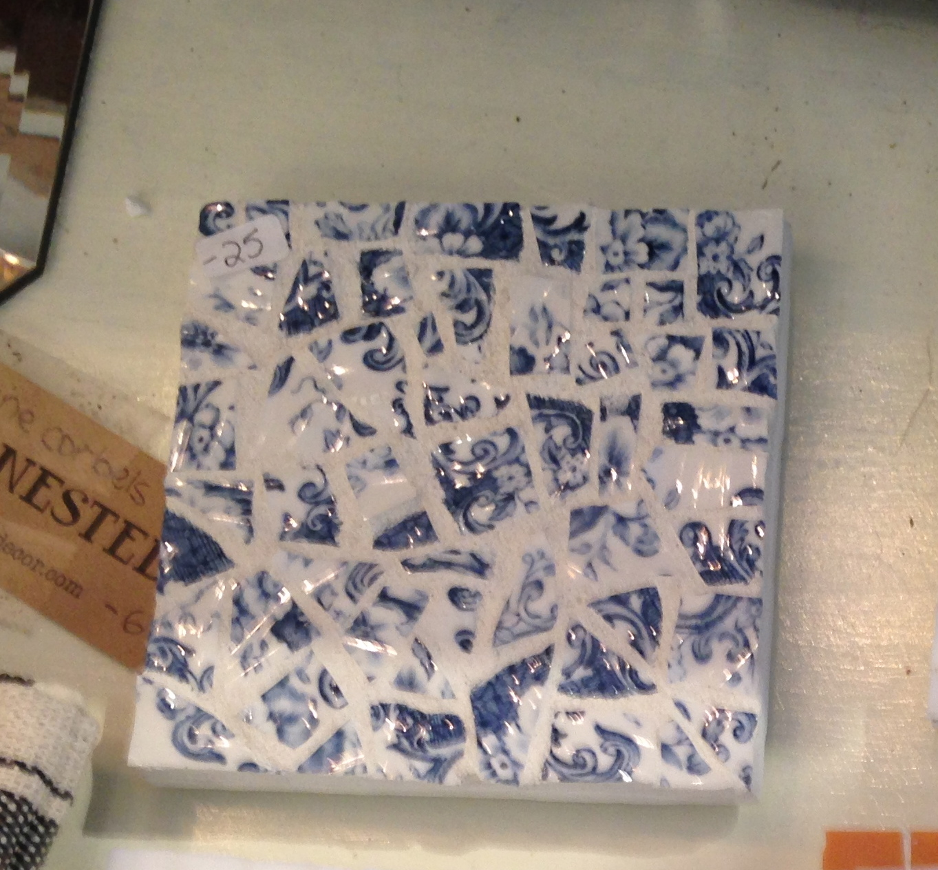 This blue and white mosaic coaster went home with a happy customer :)