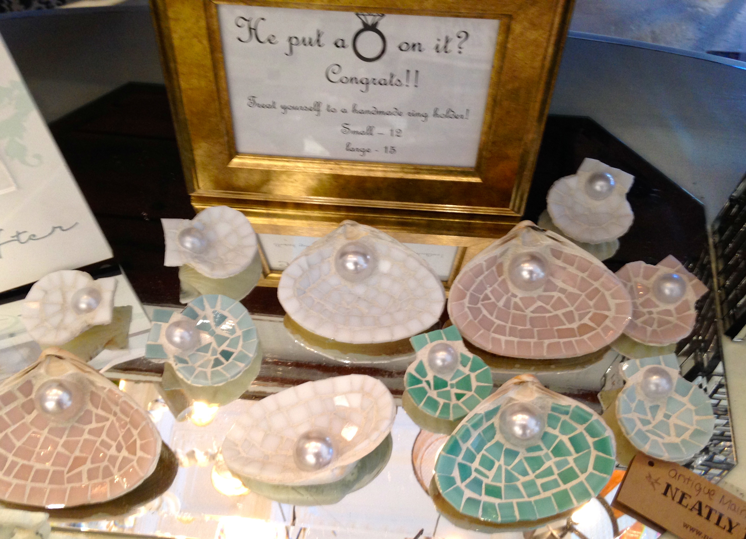These mosaic shell ring holders were a hit!