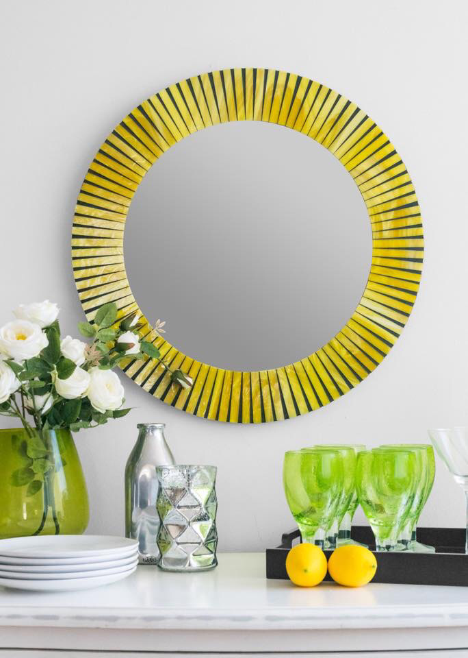 yellow_round_mosaic_mirror_foyer_mirror_stained_glass_liveinmosaics.PNG