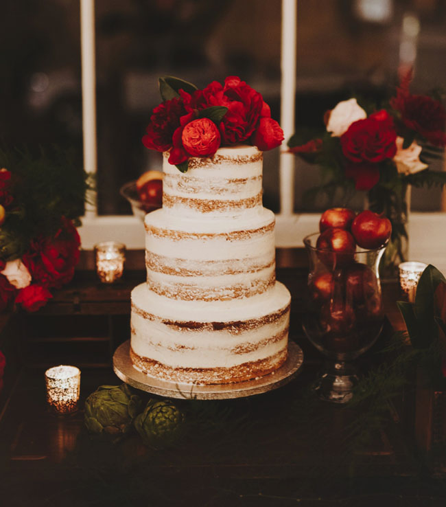 Naked cake by Bittersweet - Red winter flowers by Wild Green Yonder - Nessa K Photography.jpg