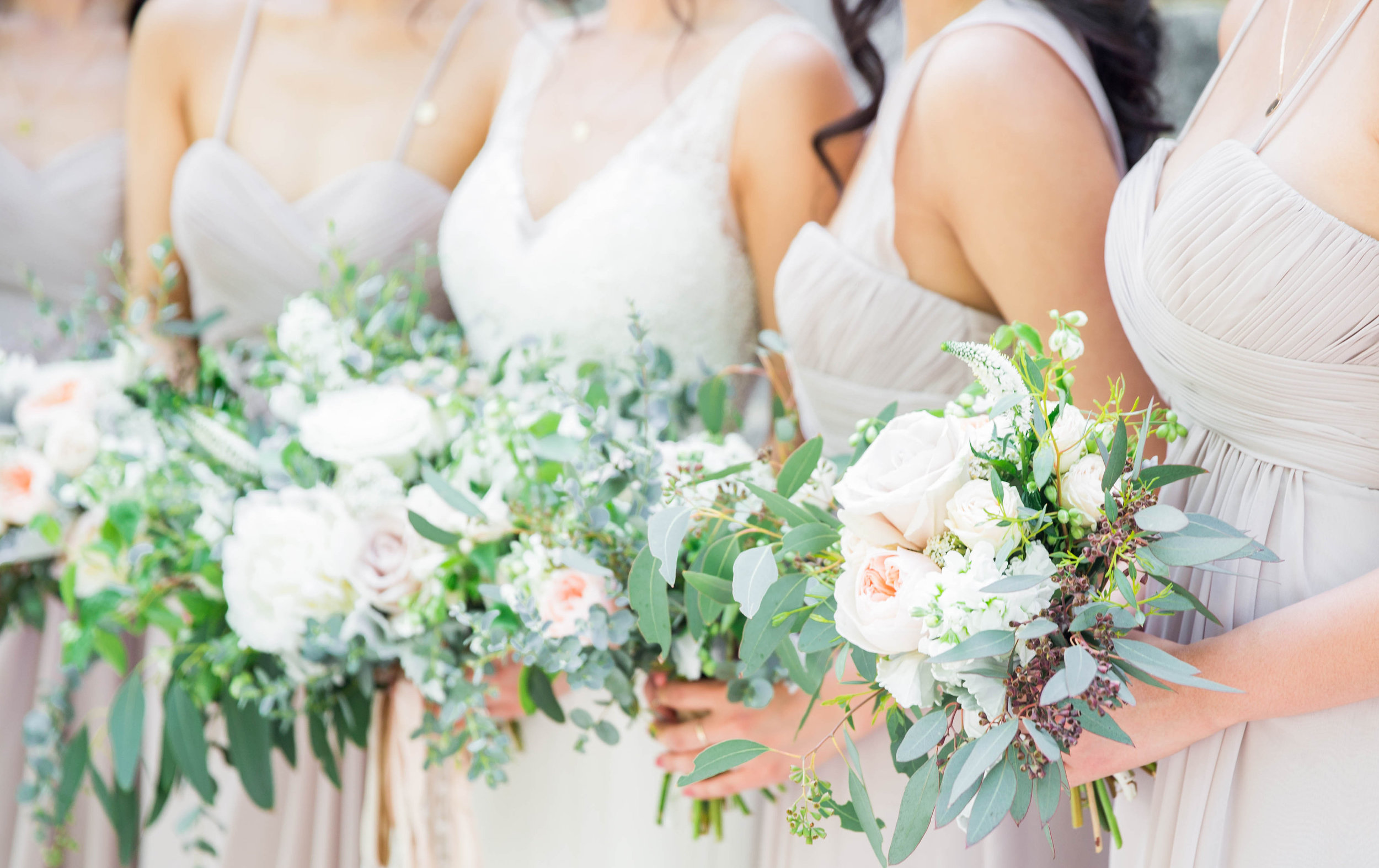 Wild Green Yonder | Blush and Ivory Bouquets