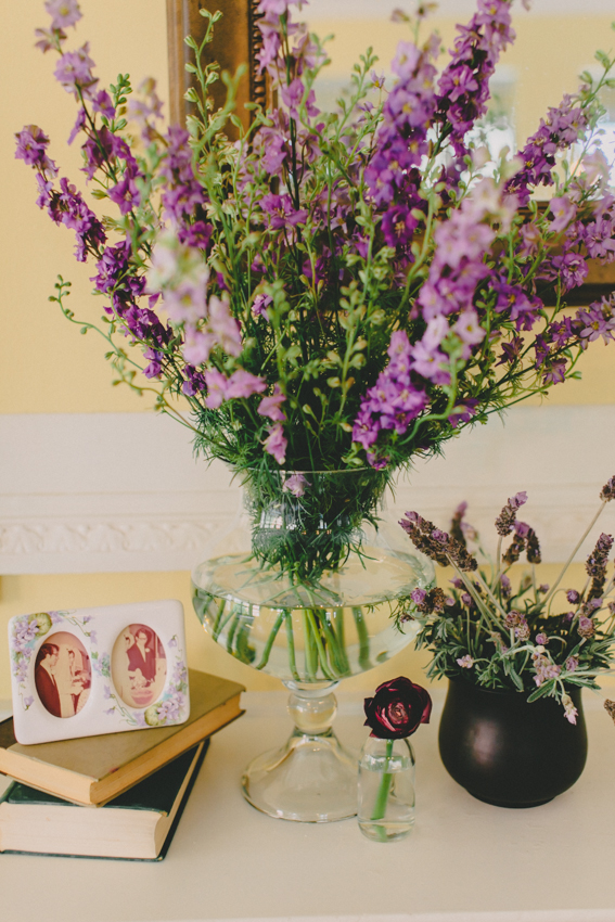 Mantel Decor of Delphinium and Lavender by Wild Green Yonder