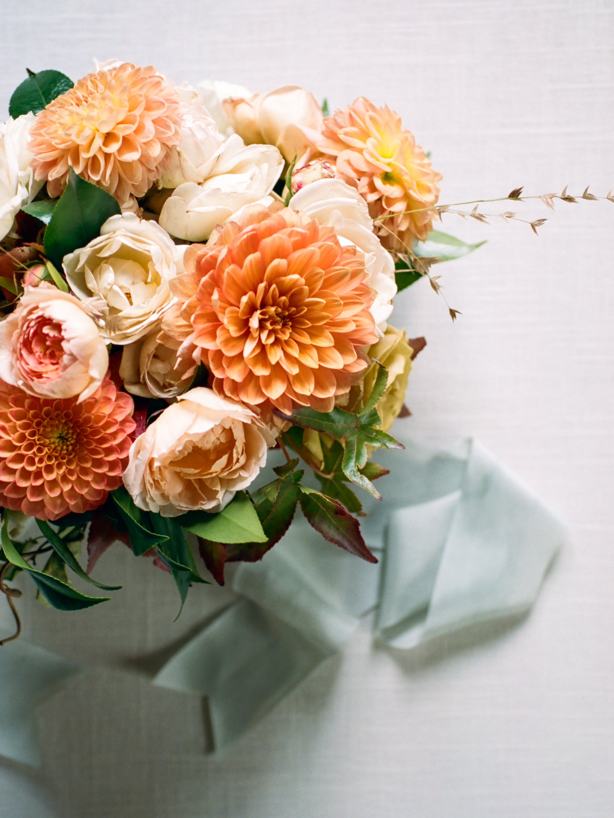 Wild Green Yonder | Orange and Peach Dahlia and Garden Rose Bouquet