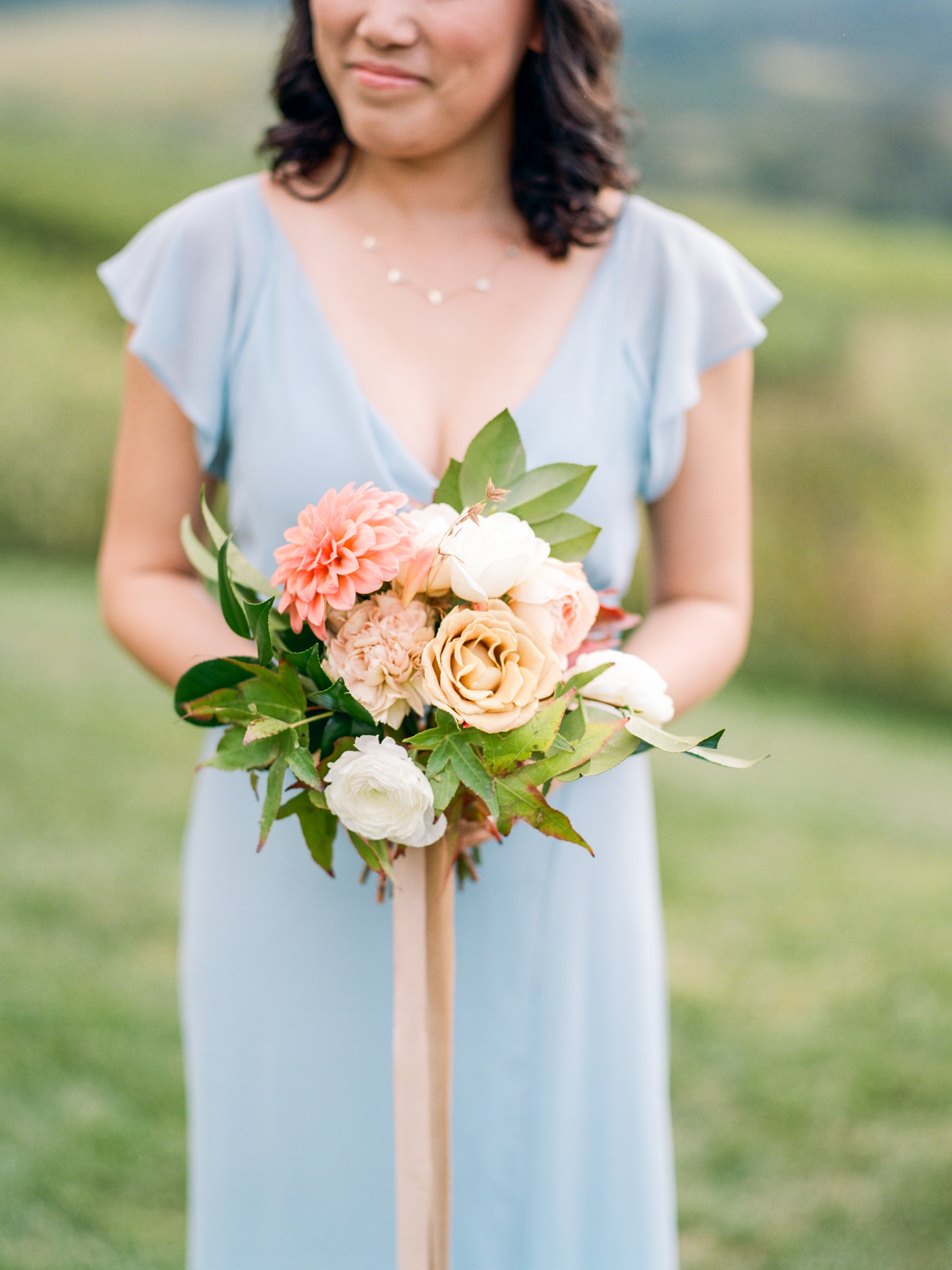 Pippin Hill Wedding Florist | Wild Green Yonder | Fall Bridesmaid bouquet