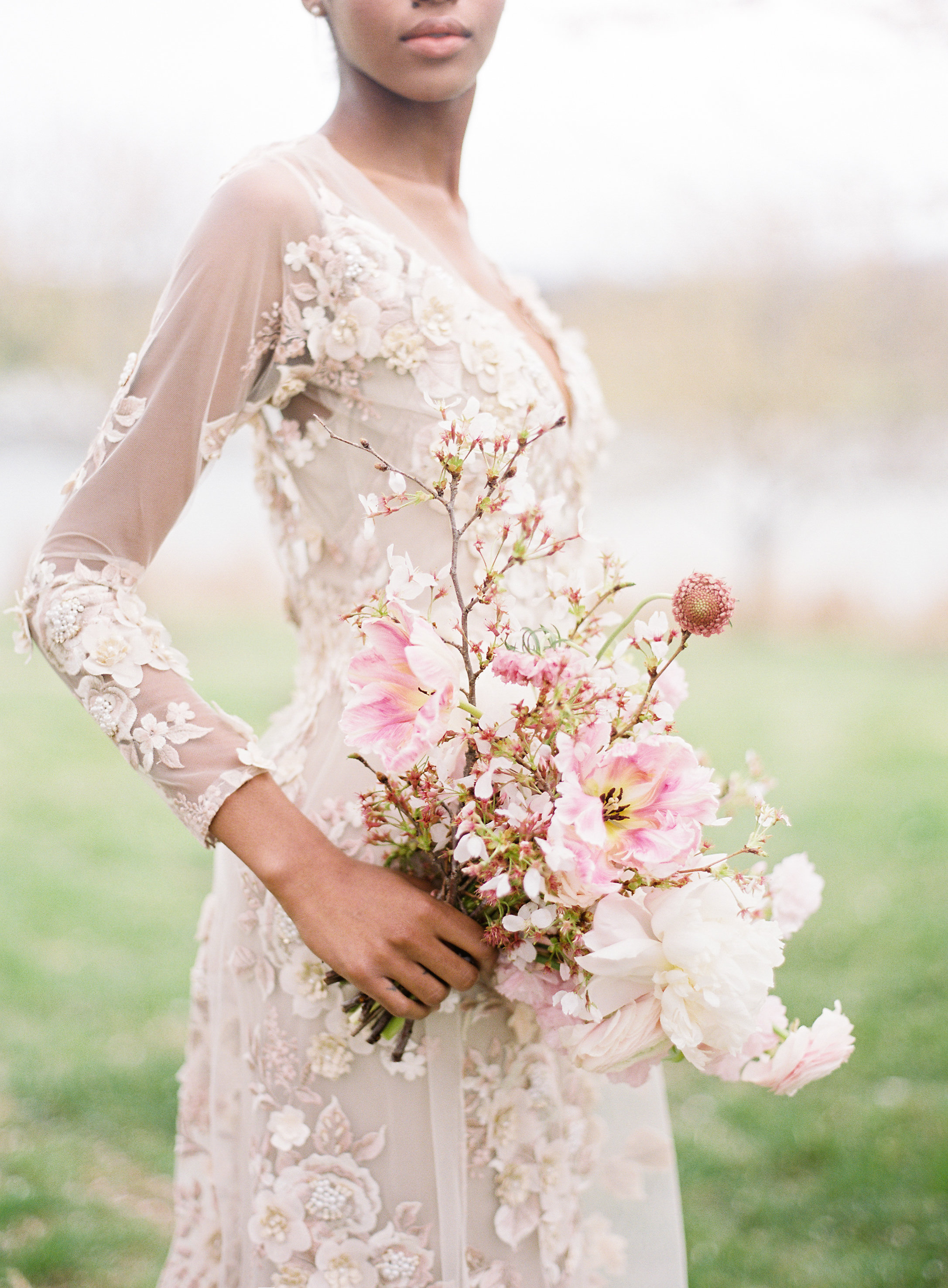 Pink Cherry Blossom and Tulip Bouquet