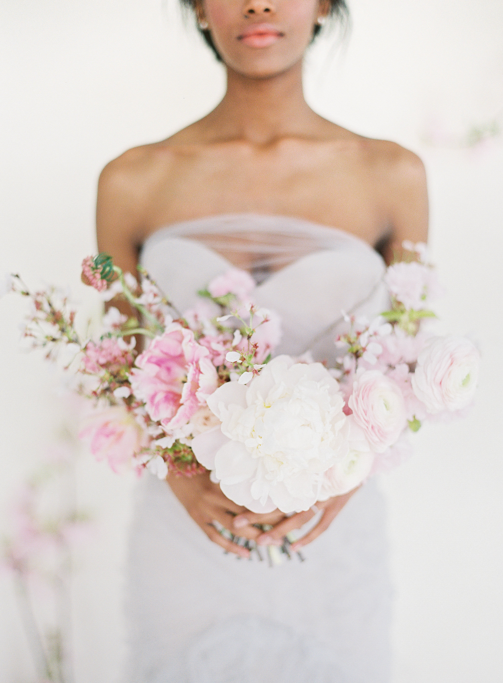 Blush and white peony bouquet by Wild Green Yonder