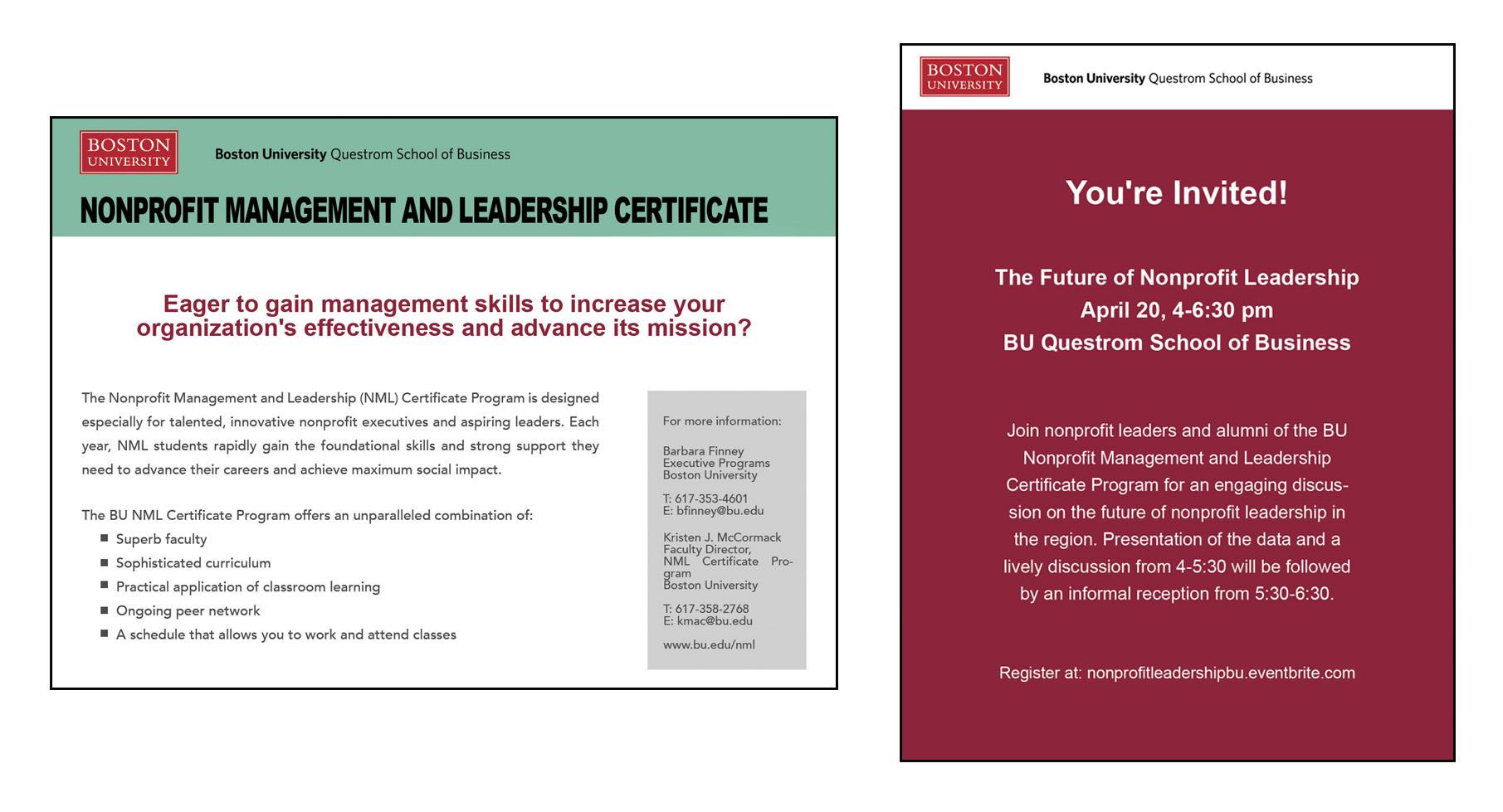 BU Non-Profit Management Info Card, 2016