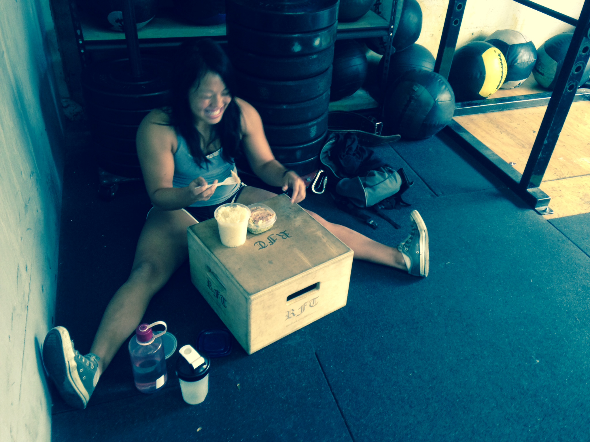 Cindy. Lunch after squats.  Photo by Rafael Vega