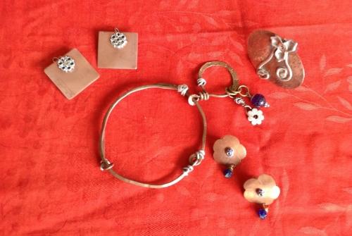 Bracelet and Earrings, Copper, Aluminum, Glass