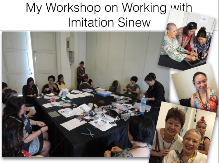 Participants who elected my classes were committed to learning how to incorporate imitation sinew into their beaded jewelry designs. The results were amazing as each created either a pair of earrings, a bracelet, or a necklace.