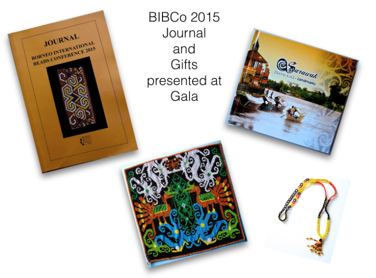 """Clockwise starting with the Journal.  This is the Borneo International Beads Conference 2015 Joural besides the paper I wrote on """"The Art of Bead Stringing"""" there are several other papers on beads from ancient to modern. If you wish to acquire a Journal you can contact Heidi at Crafthub.com.my. The gifts presented at the Gala were the book 'Sarawak Landmarks' written by Heidi Munan, a beaded necklace, and a beaded panel with hornbill birds and dragons. The gifts were such a surprise and so perfect."""