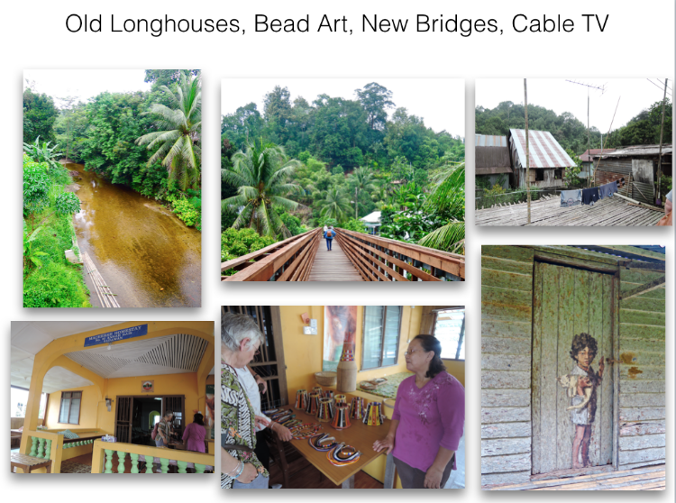 Here we are in the trees. A serious old river below and a contemporary bridge above. Here in the famous longhouses of old are beautiful modern homes complete with electricity, TV, and phones. Often next to structures that have not been updated  And art is alive and well in this village. Beads are still fashioned into jewelry and head pieces for ceremonies, while a door painted long ago shows a boy coming home.