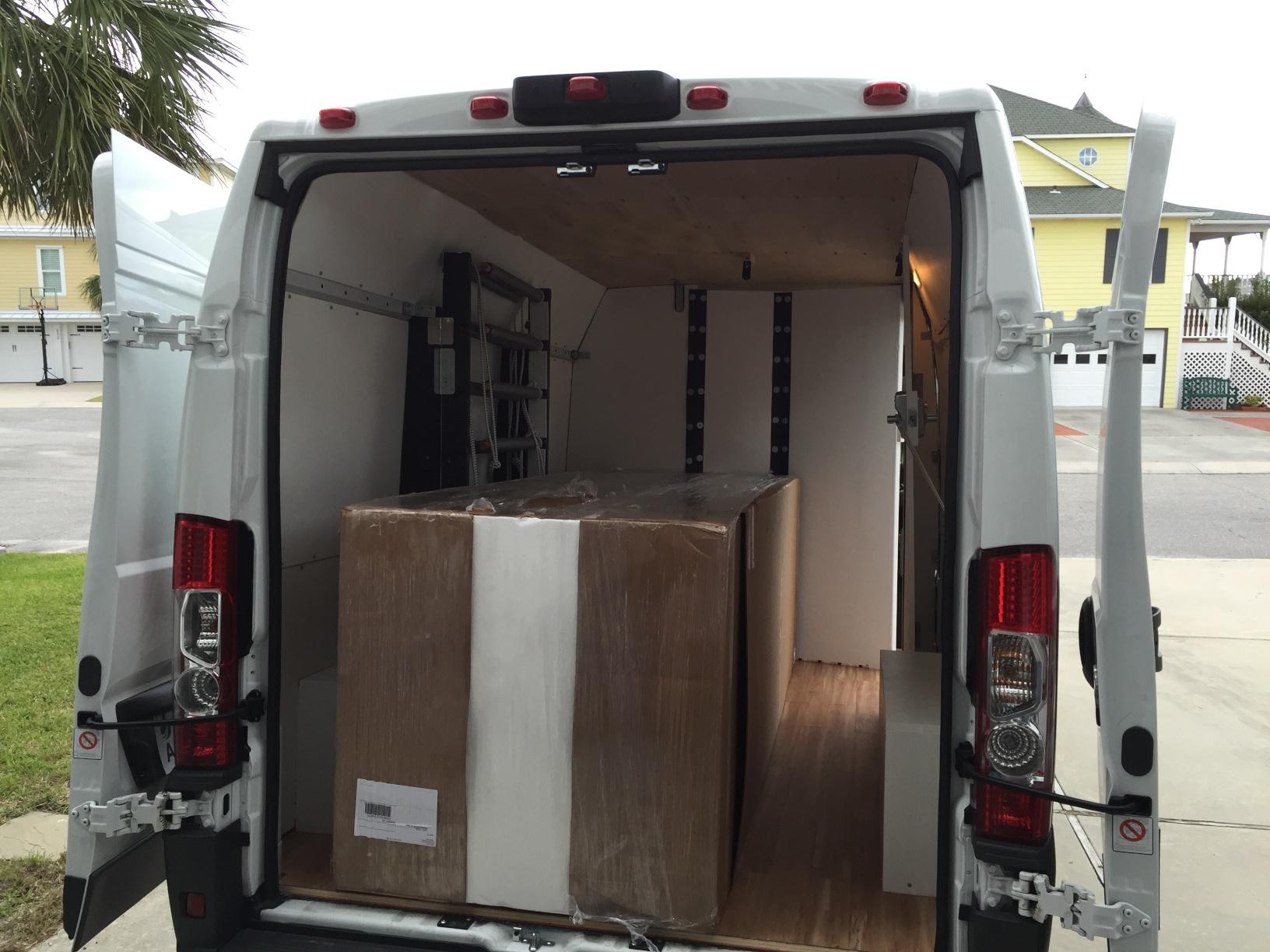 My van configured for foam block transport.