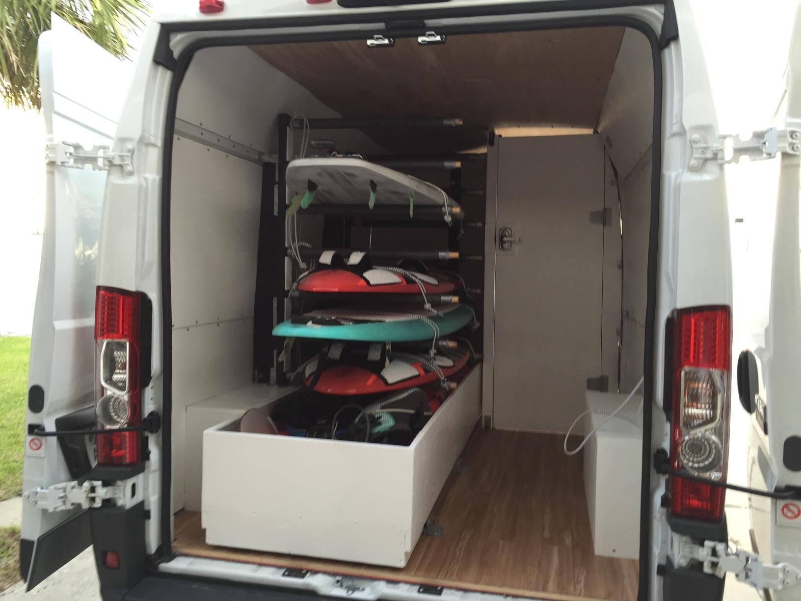 My van configured for toy hauling. All in one van. Magic!