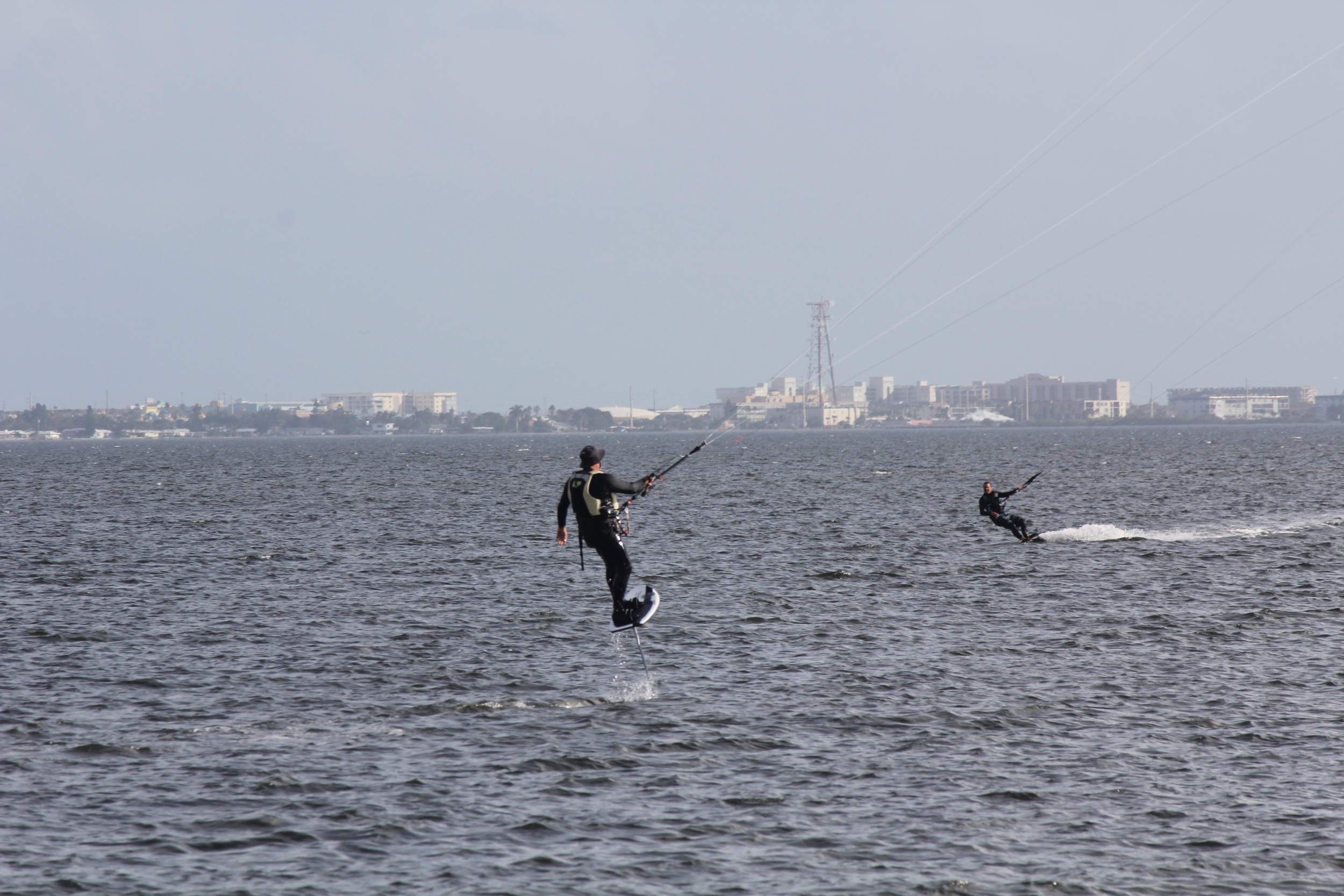 Dave on his foil board with 13m Cabrinha.Mark on his 15m Flysurfer.