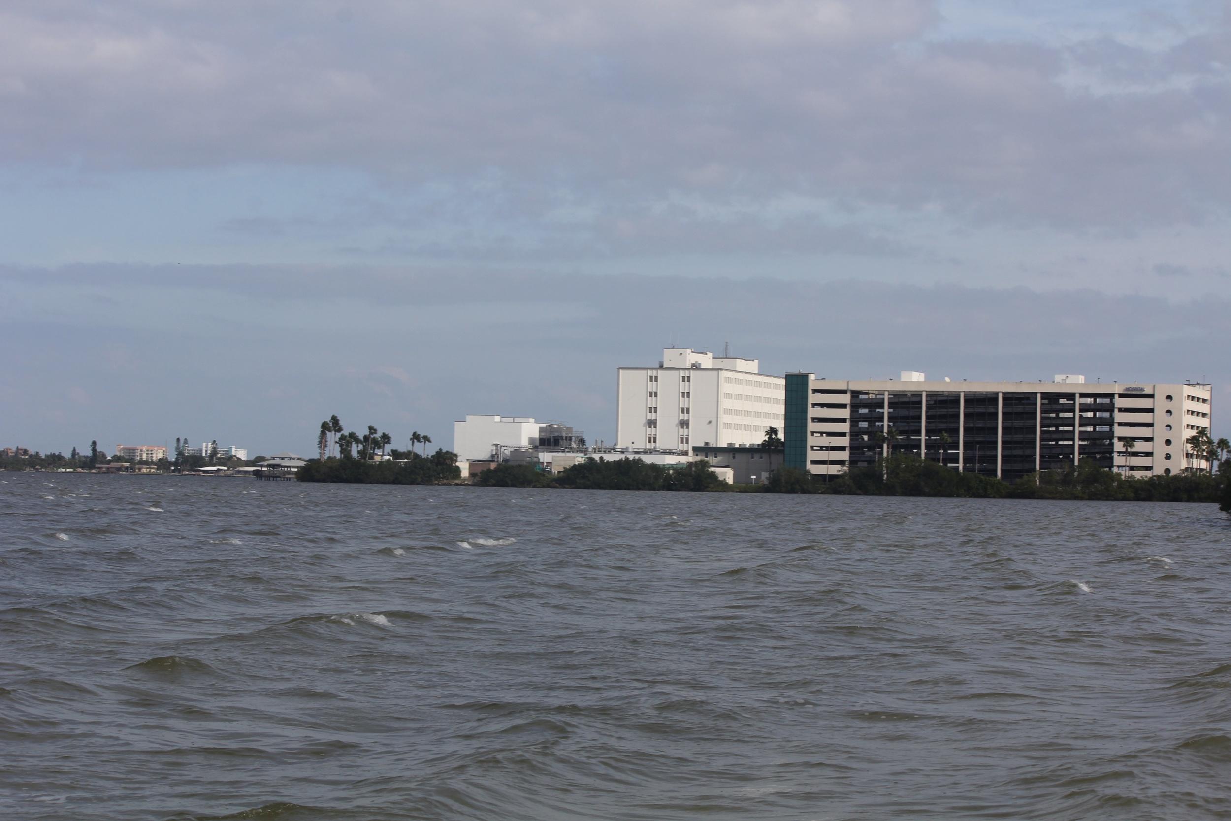 The hospital where Jacky may work someday soon. We windsurf right past the employee gazebo/dock.