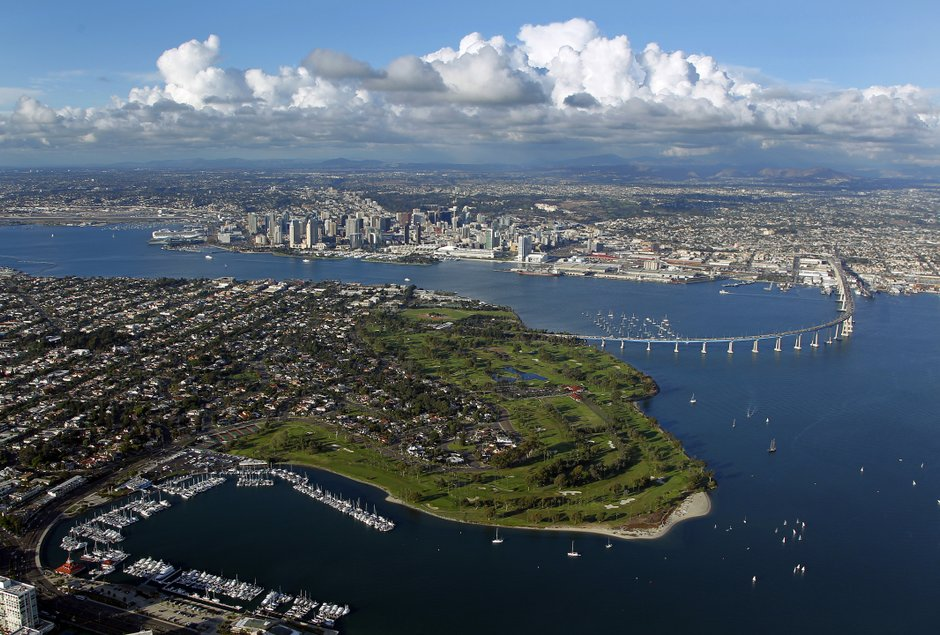 Above: Photo taken over Coronado island overlooking downtown San Diego on a discover flight.