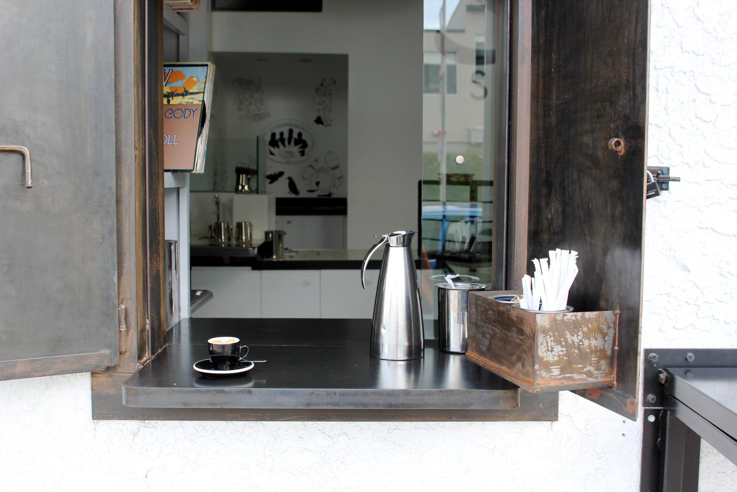 STEEL EXTERIOR SERVICE WINDOWS @ COMMISSARY COFFEE SIREN STUDIOS