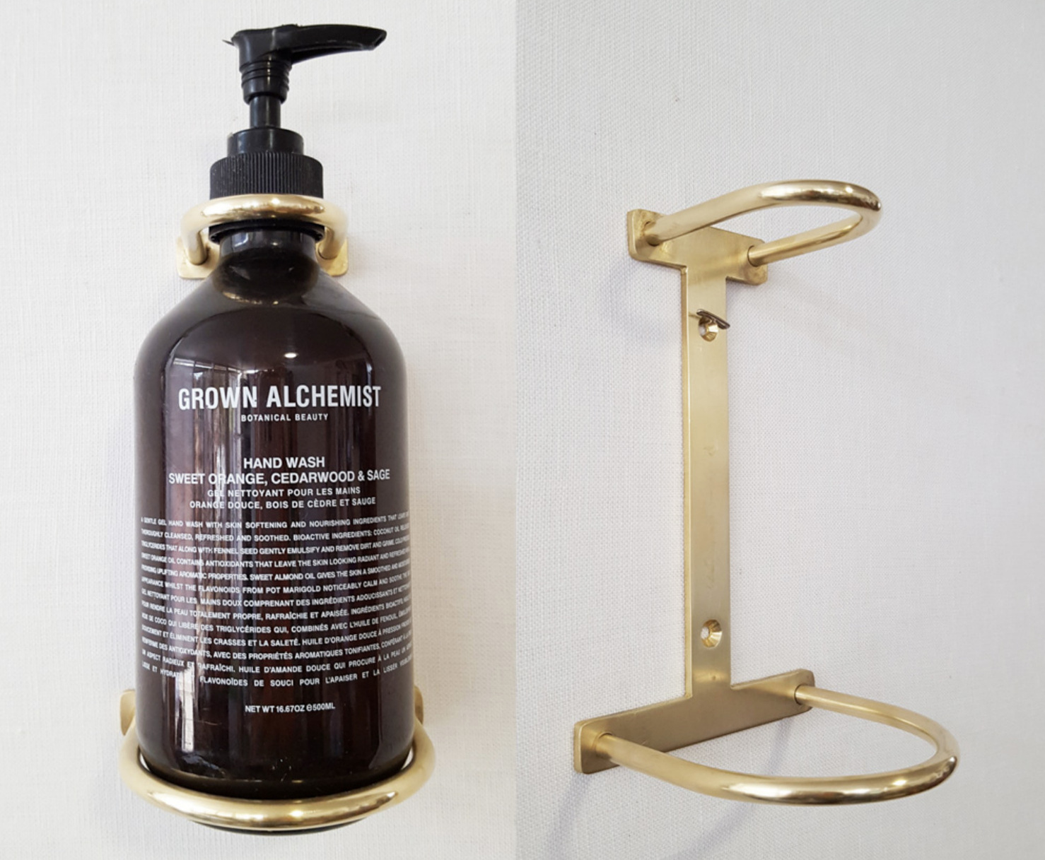 BRASS SOAP HOLDERS @ VARIOUS LOCATIONS, CUSTOM FOR GROWN ALCHEMIST