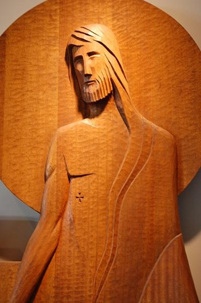 Narthex wall sculpture       St. Matthew's Church, Renton, WA   Carving by Ernst Schwidder