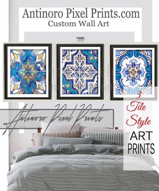 12x12 Prints 4 Custom Colors Sizes Available #586035225 Art Watercolor Damask Navy Indigo Blues White Prints,