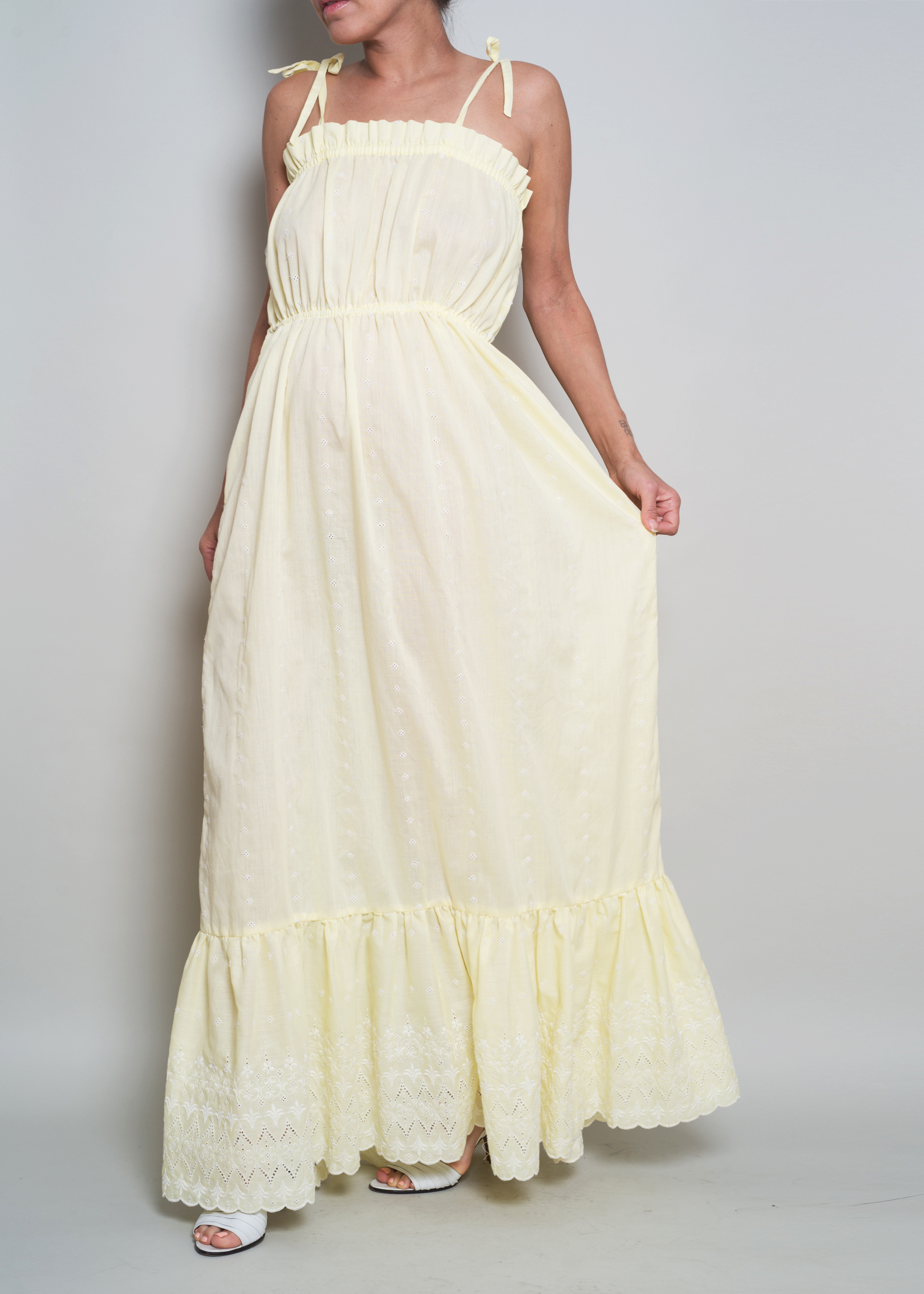 1970s Yellow Cotton Eyelet Detail Summer Maxi Dress from A PART OF THE REST