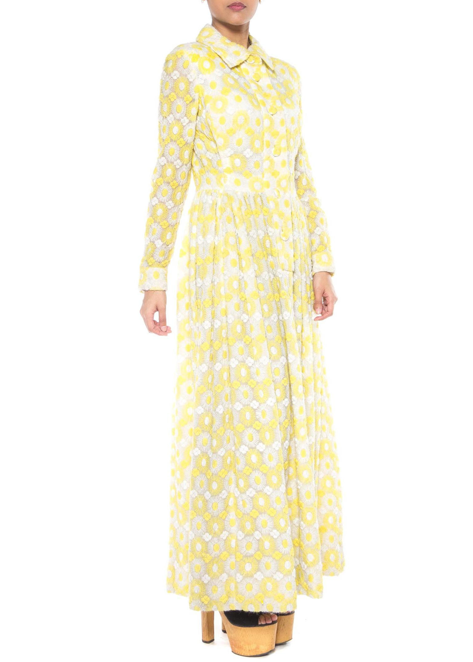 1960s Yellow and White Daisy Embroidery Maxi Dress from MORPHEW CONCEPT