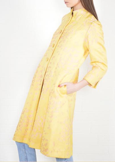1960s Yellow Vintage Brocade Coat at THRIFTWARES
