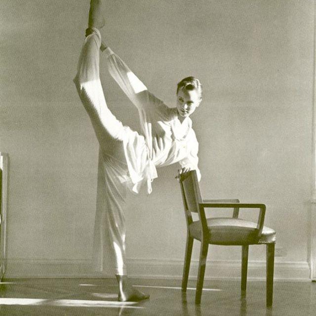 Sunday stretch. Model Susan Hess by Arthur Elgort, 1980s
