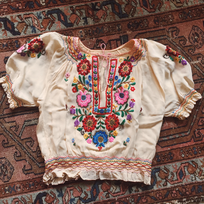 Antique European embroidery at Noir Ohio