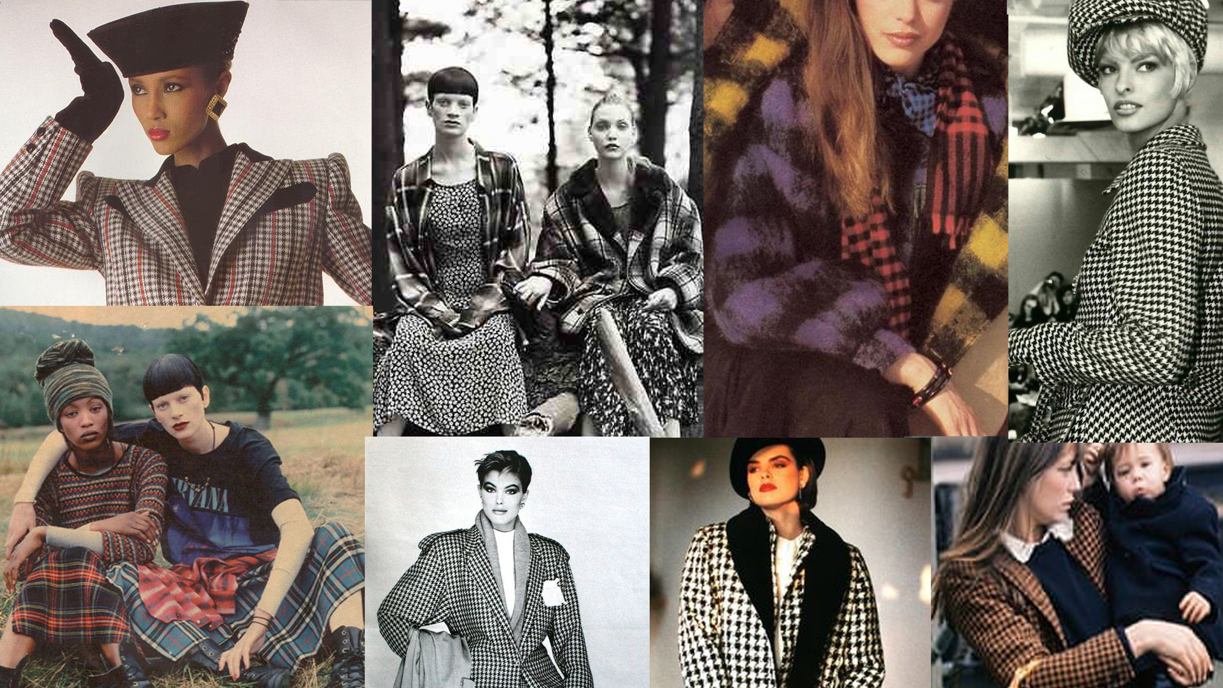 Clockwise from top Left: Iman 1980s, Perry Ellis by Marc Jacobs Fall 1992, Buffalo Plaid Vogue 1990, Linda Evangelista 1990s Anna Sui Show, Jane Birkin 1970s,